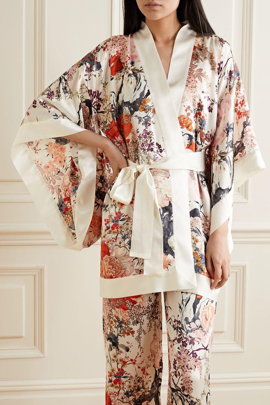 MENG Floral-print silk-satin kimono