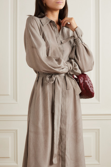 + NET SUSTAIN printed organic silk midi dress