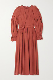 + NET SUSTAIN belted pleated organic cotton maxi dress