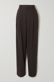 + NET SUSTAIN pleated organic wool-blend tapered pants