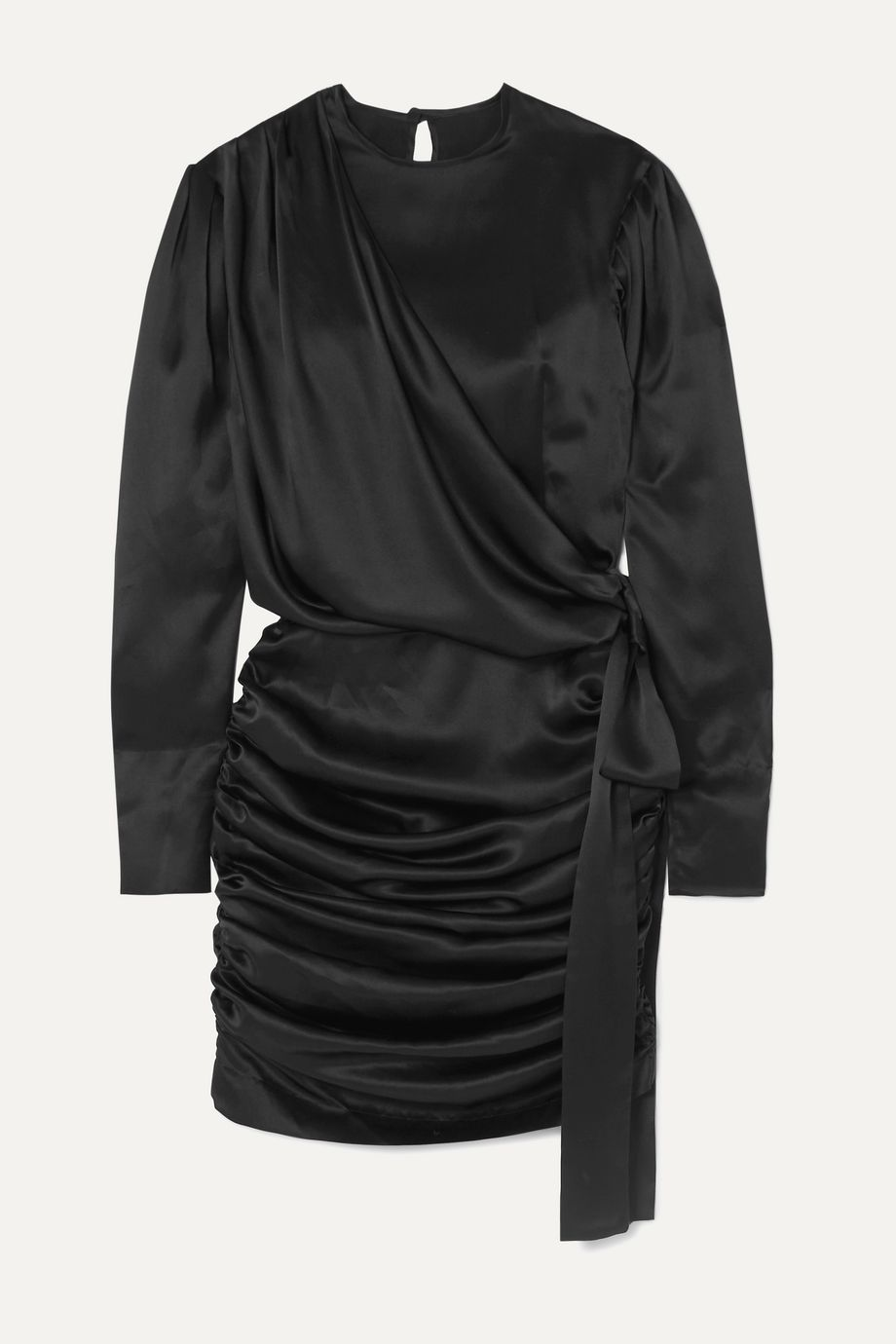 MATERIEL Gathered silk-satin mini dress