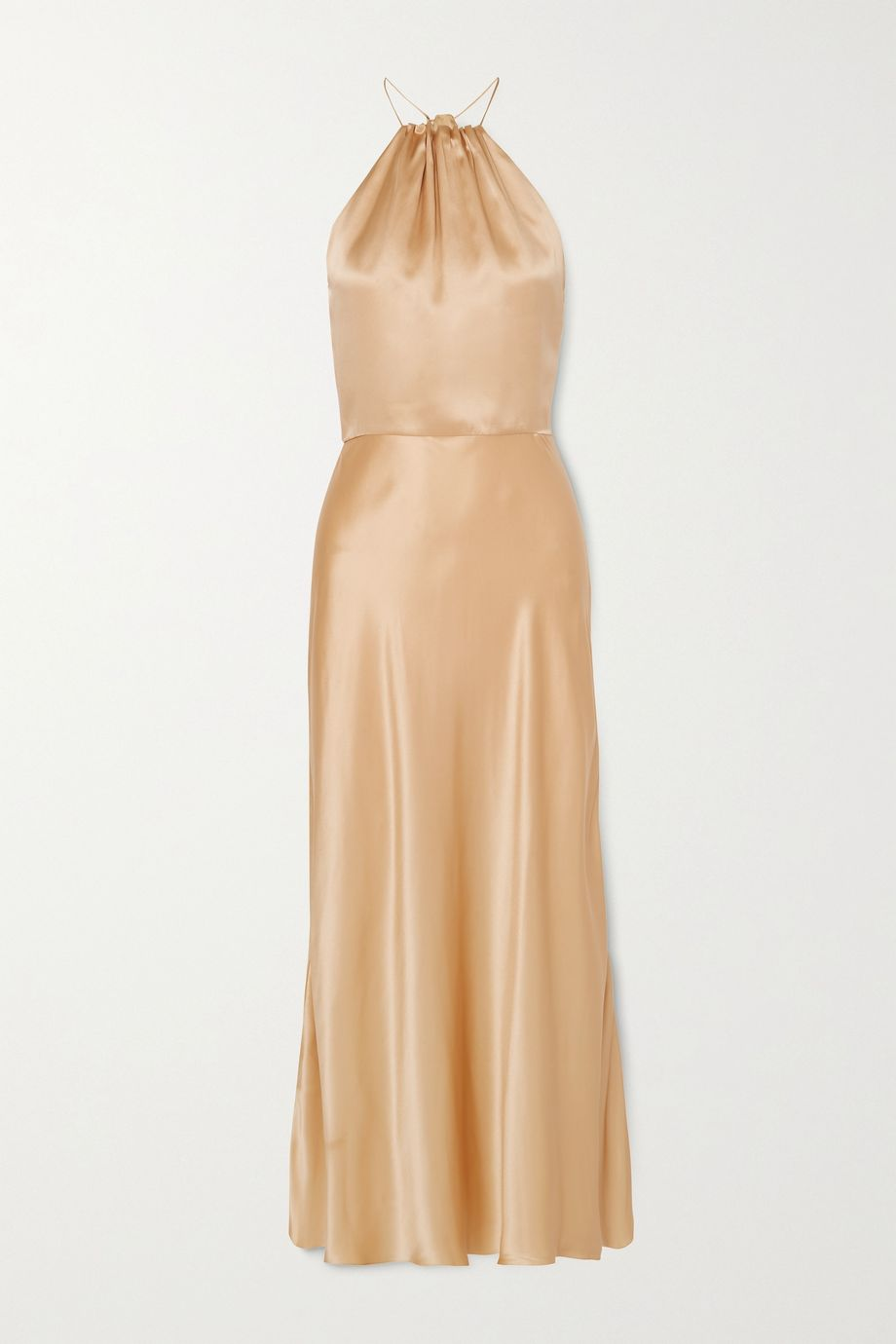MATERIEL Silk-satin halterneck midi dress
