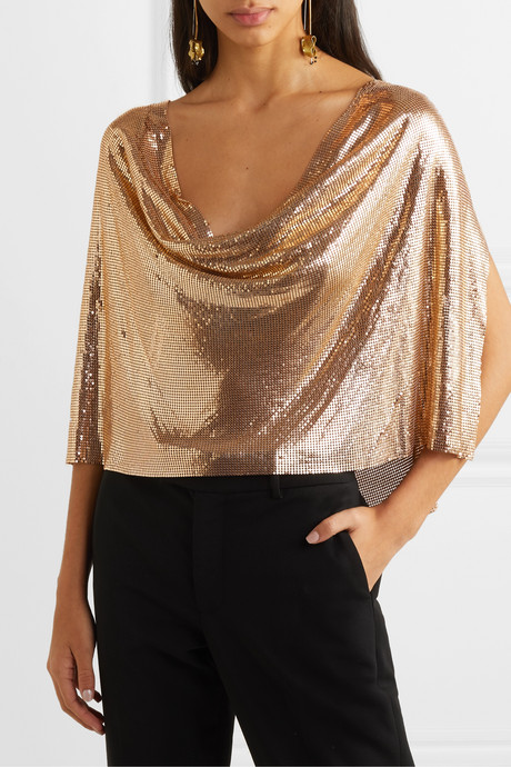 Draped cape-effect chainmail top