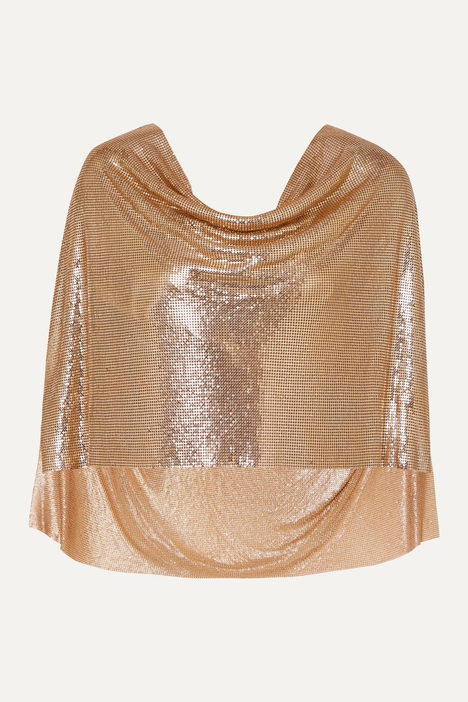 MATERIEL Draped cape-effect chainmail top