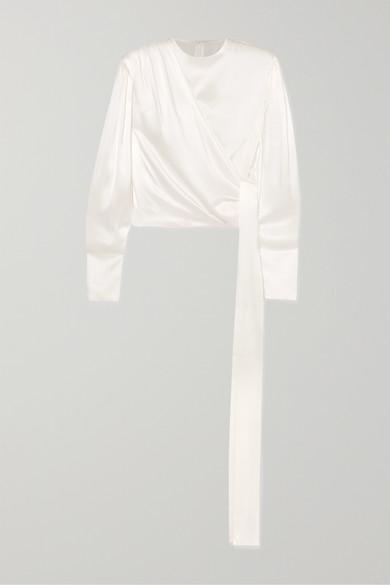 Draped Silk Satin Blouse by MatÉriel