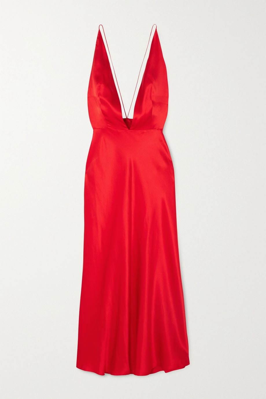 MATERIEL Open-back silk-satin midi dress