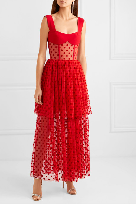 Tiered polka-dot flocked tulle and cady gown