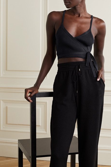 Cropped ribbed cashmere wrap top
