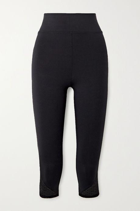Black Cropped Calais lace-trimmed stretch leggings | Eres NAnn1S