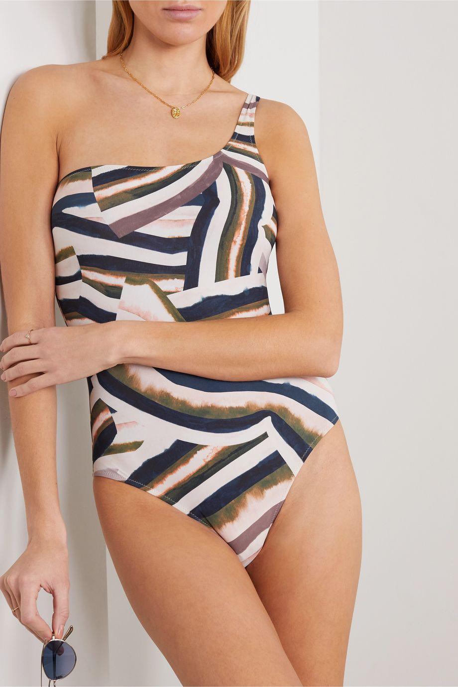 On The Island By Marios Schwab Agonda one-shoulder printed swimsuit