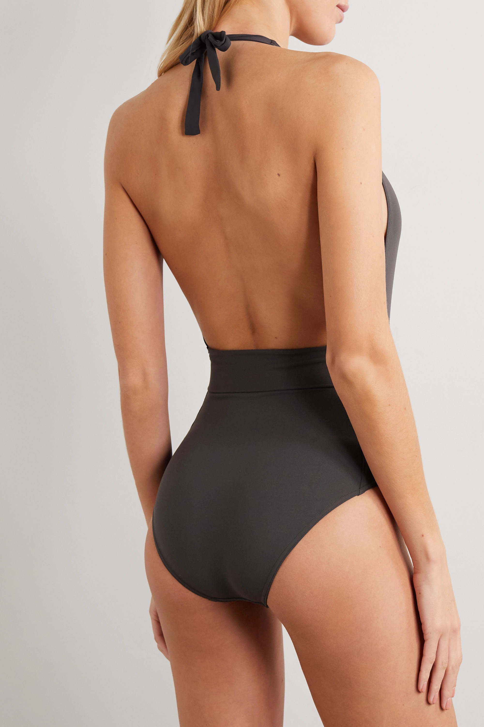 Anthracite Belted Halterneck Swimsuit | Eres