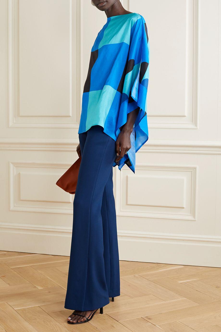 Louisa Parris Sargent printed silk-dupioni top