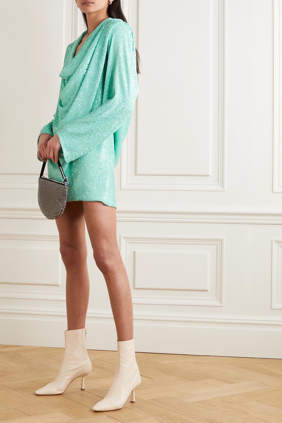 NERVI Carol draped sequined stretch-georgette mini dress