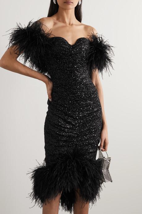Luna off-the-shoulder feather-embellished sequined crepe midi dress