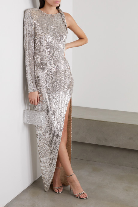 Kendall one-sleeve sequined tulle dress