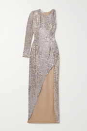 NERVI Kendall one-sleeve sequined tulle dress