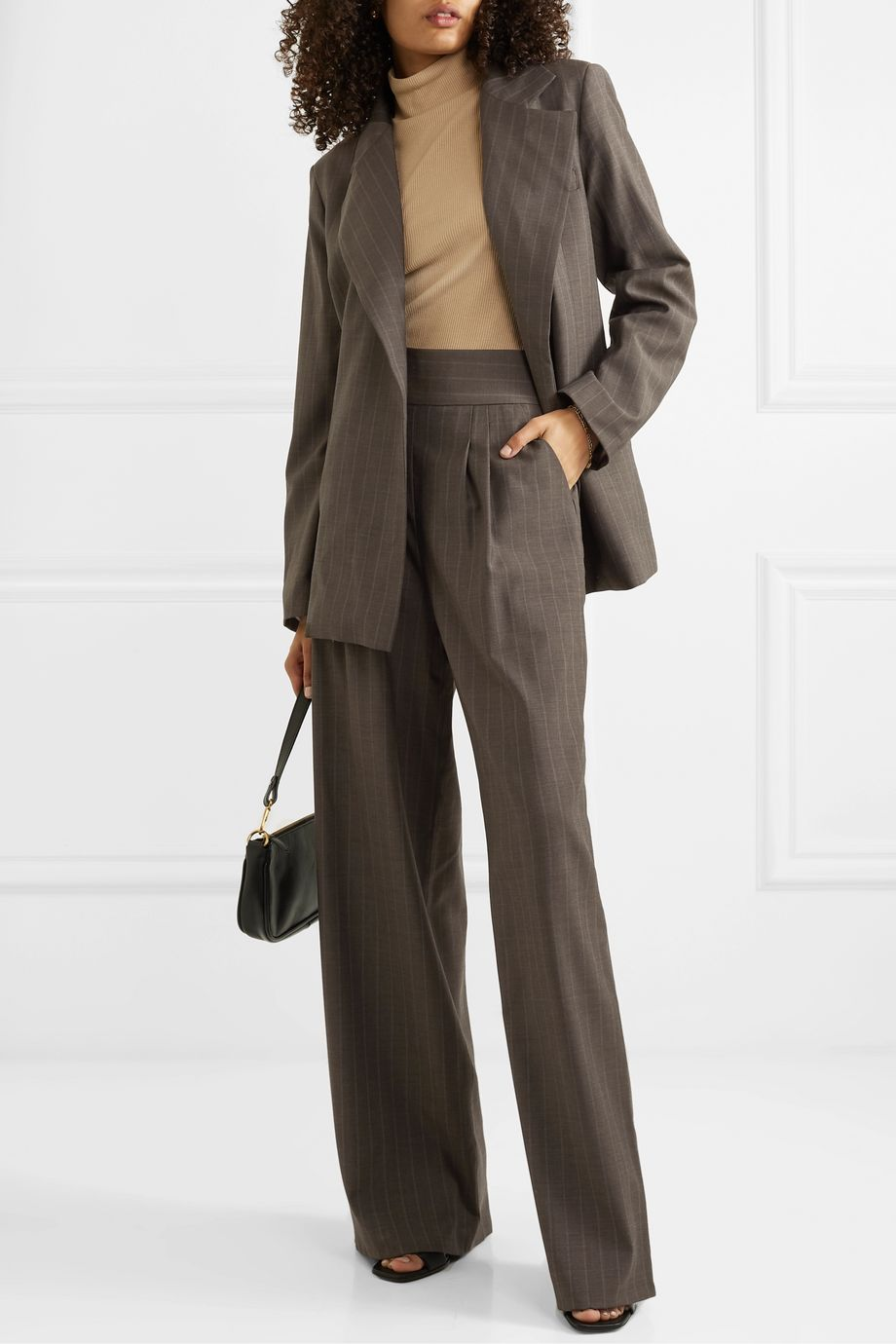 aaizél + NET SUSTAIN pinstriped wool wide-leg pants