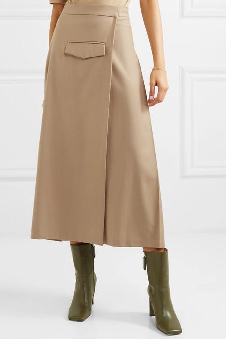 Pleated wool-blend twill wrap skirt
