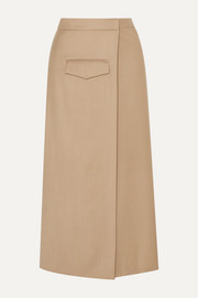 aaizél Pleated wool-blend twill wrap skirt
