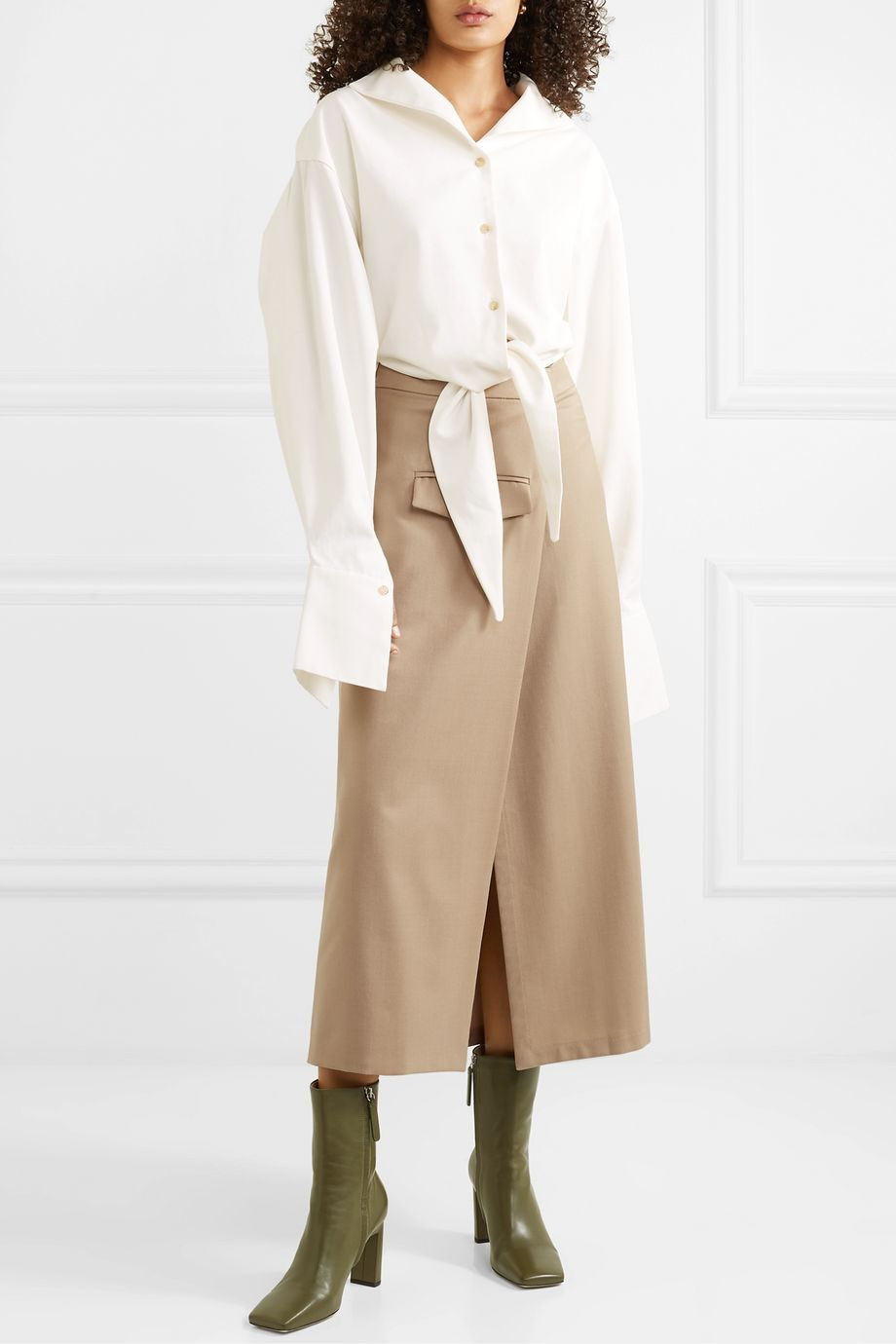 aaizél + NET SUSTAIN pleated wool-blend twill wrap skirt