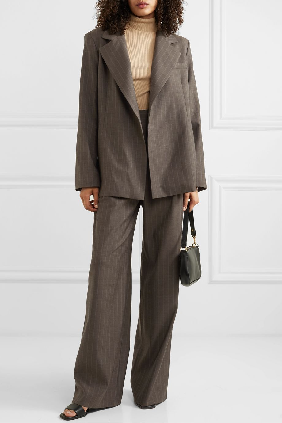 aaizél + NET SUSTAIN pinstriped wool blazer