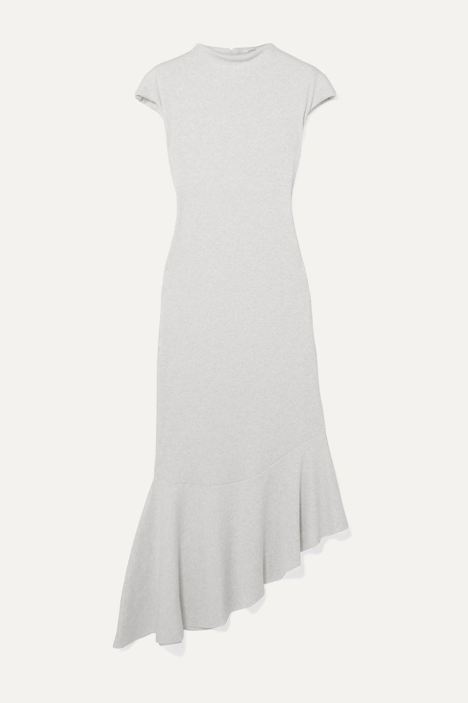 aaizél + NET SUSTAIN asymmetrisches Kleid aus geripptem Jersey aus einer Baumwoll-Modalmischung mit Volant