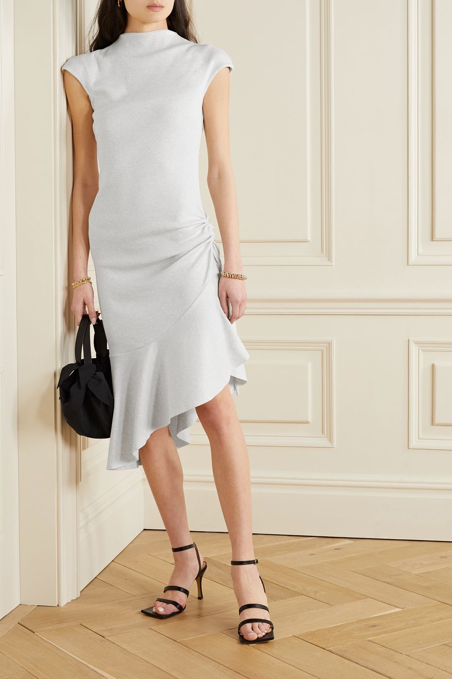 aaizél + NET SUSTAIN asymmetric ruffled ribbed cotton and modal-blend jersey dress