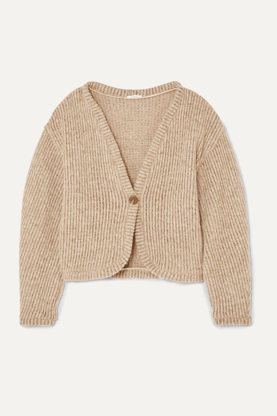 aaizél 【NET SUSTAIN】罗纹羊毛混纺开襟衫