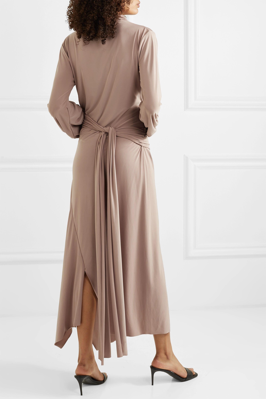 aaizél + NET SUSTAIN asymmetric draped stretch-jersey turtleneck midi dress