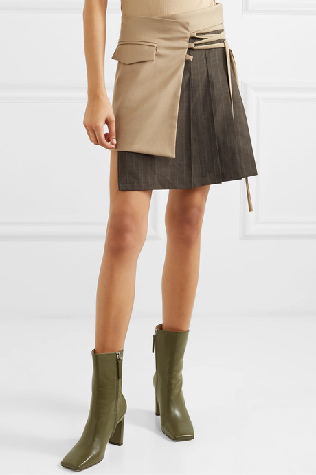 Layered wool-blend and pleated pinstriped wool mini skirt
