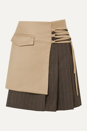 aaizél Layered wool-blend and pleated pinstriped wool mini skirt