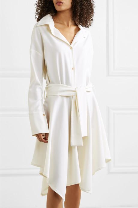 + NET SUSTAIN asymmetric belted wool-twill dress