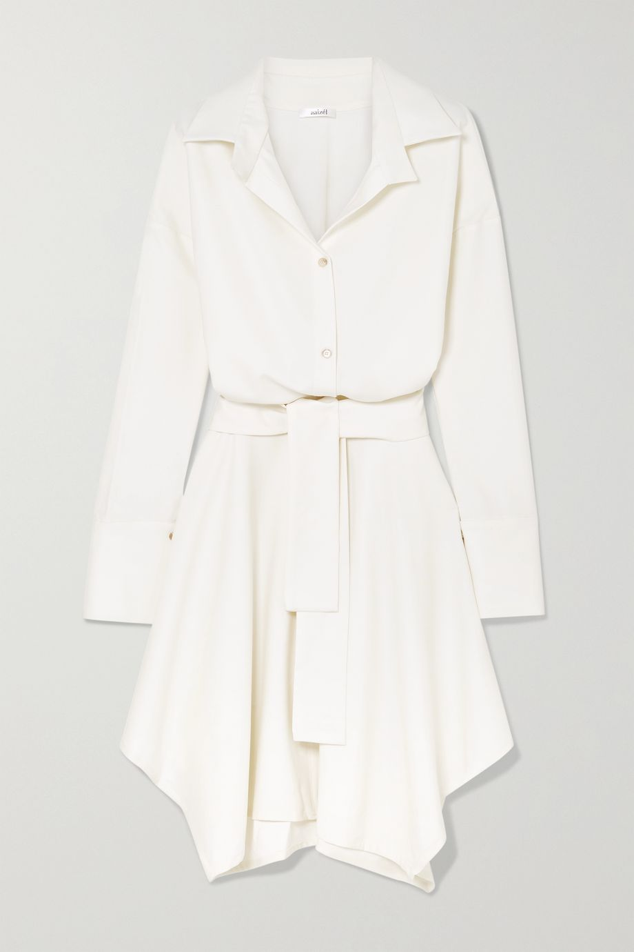 aaizél + NET SUSTAIN asymmetric belted wool-twill dress