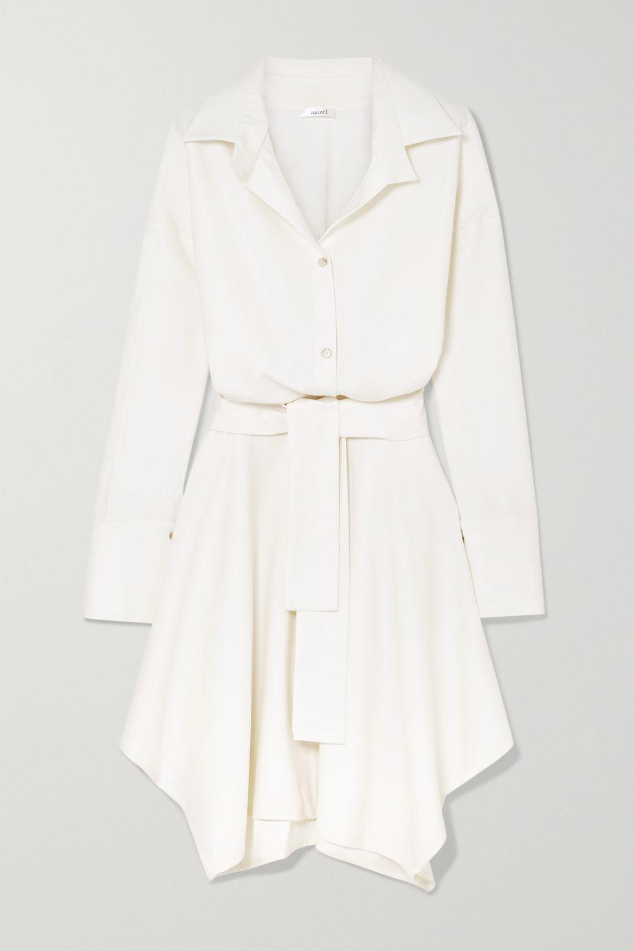 aaizél + NET SUSTAIN Asymmetrisches Kleid aus Woll-Twill mit Bindegürtel