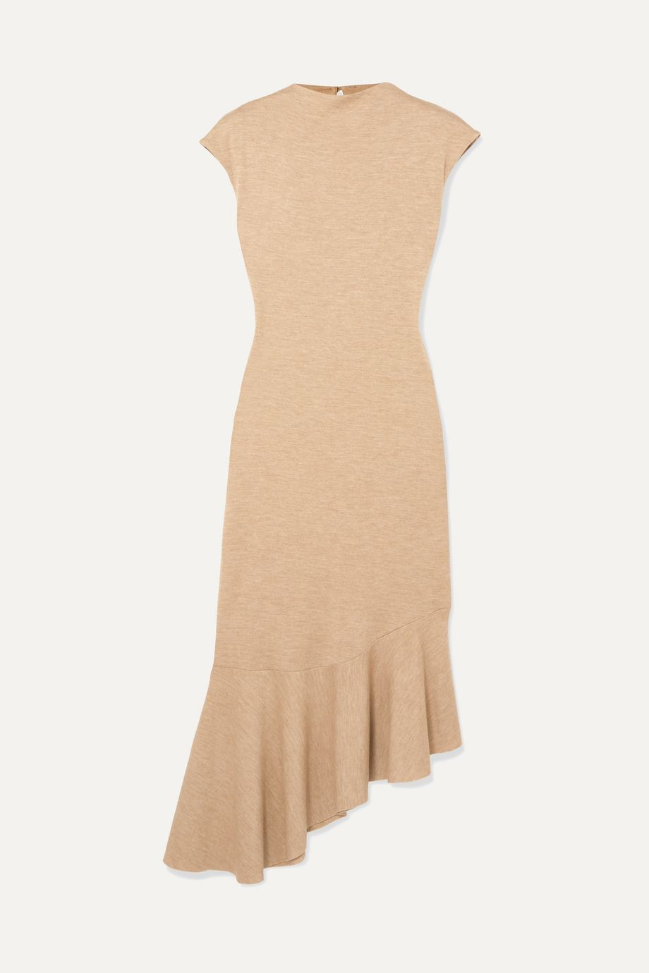 aaizél + NET SUSTAIN asymmetric ruffled mélange jersey midi dress