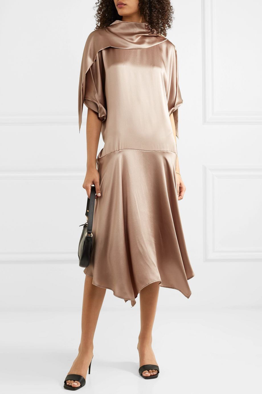 aaizél + NET SUSTAIN convertible asymmetric silk-satin midi dress