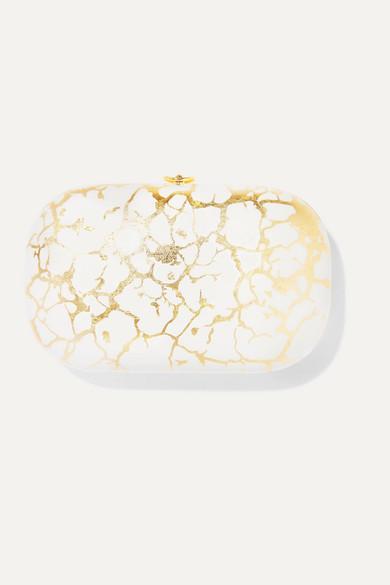Jeffrey Levinson Elina Plus 18-karat Gold And Enameled Aerospace Aluminum Clutch In White