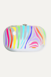 Jeffrey Levinson Elina Plus hand-painted zebra aerospace aluminum clutch