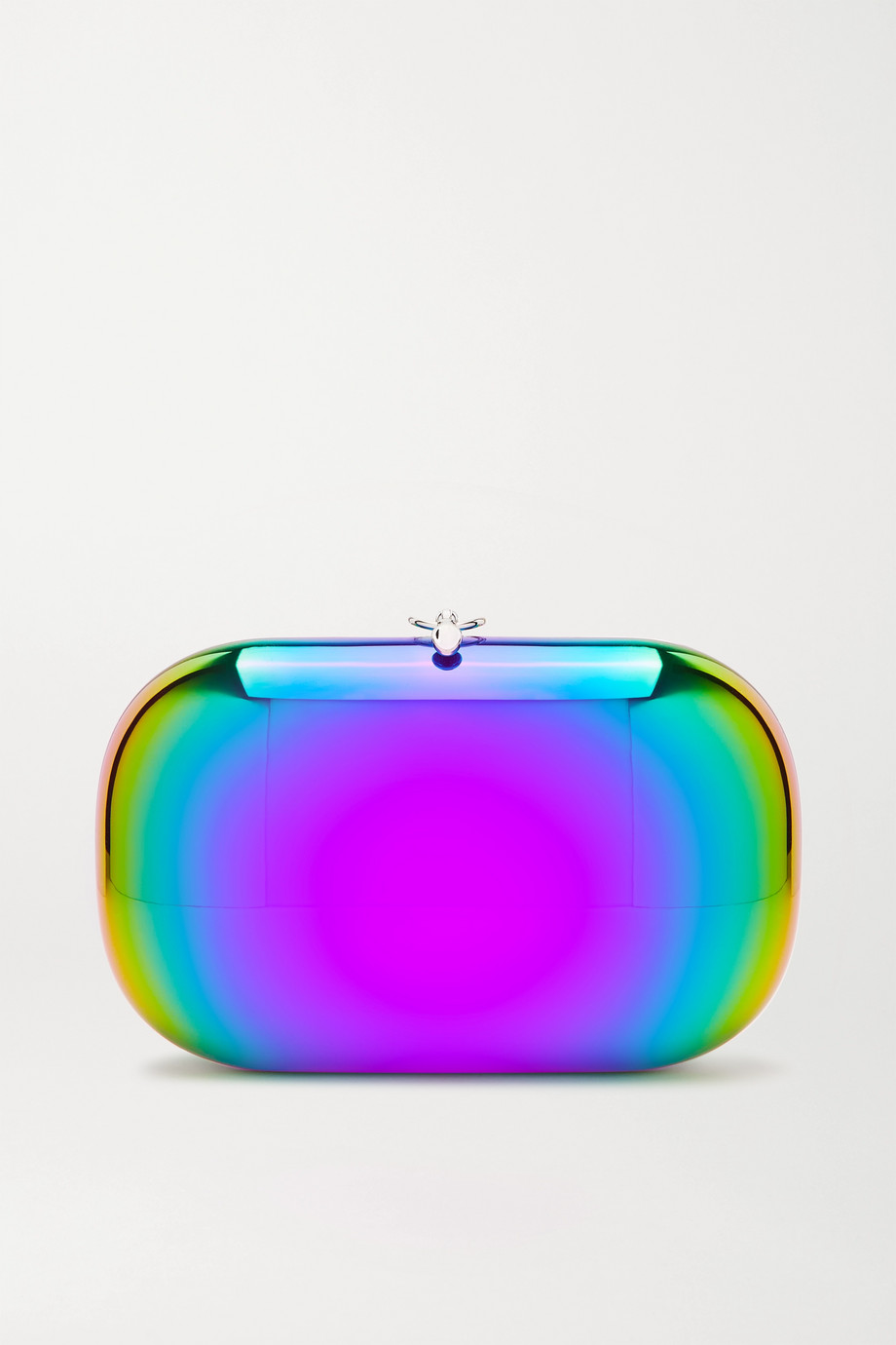 Jeffrey Levinson Elina Plus mirrored rainbow aerospace aluminum clutch