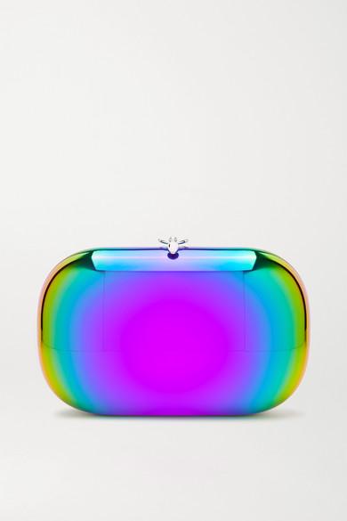 Jeffrey Levinson Elina Plus Rainbow Mirrored Clutch In Metallic