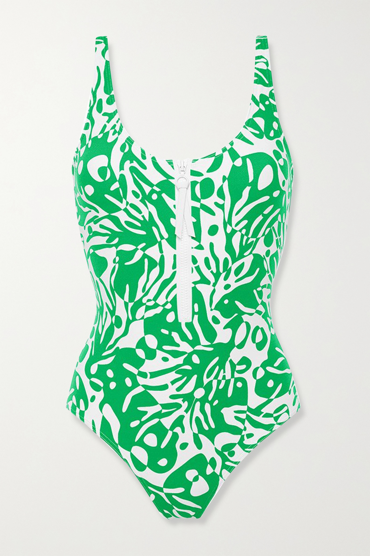 Eres Shrimp zip-detailed printed swimsuit