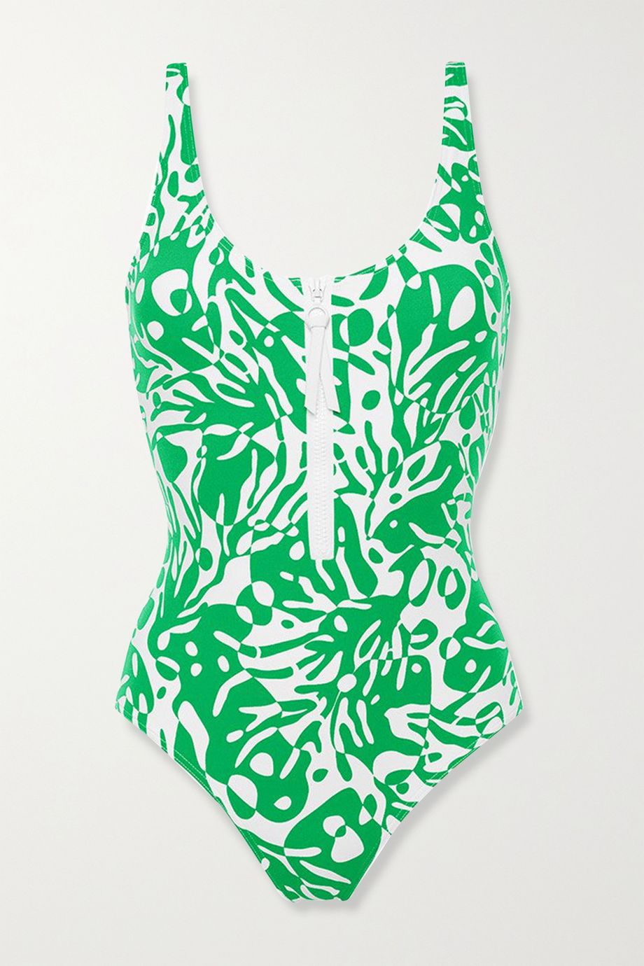 Eres Shrimp zip-detailed printed swimsuit