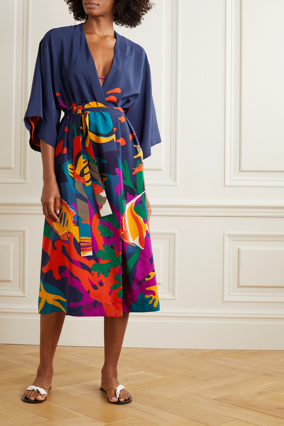 Eres Printed silk robe