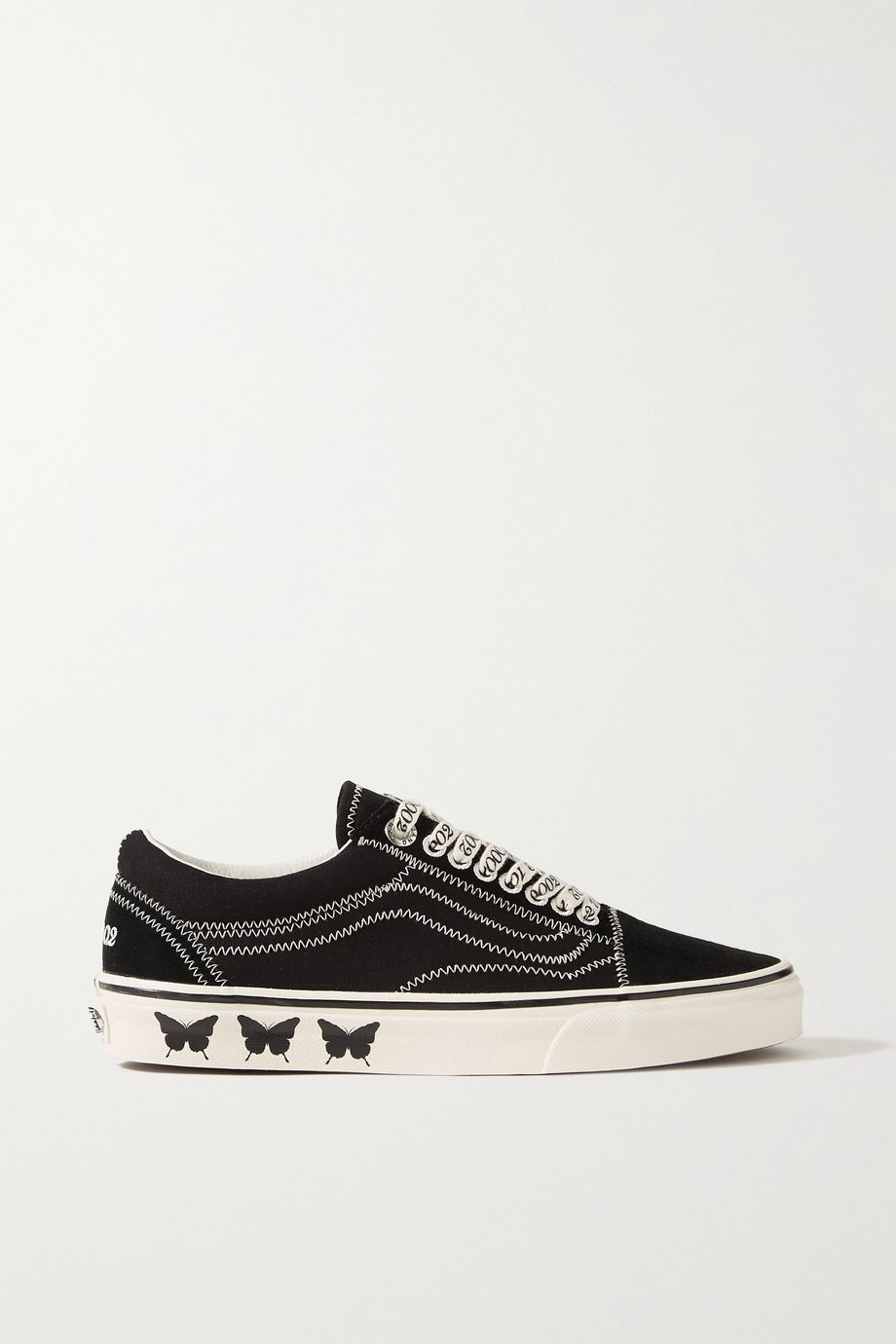 Vans + Sandy Liang Old Skool embroidered printed canvas and suede sneakers