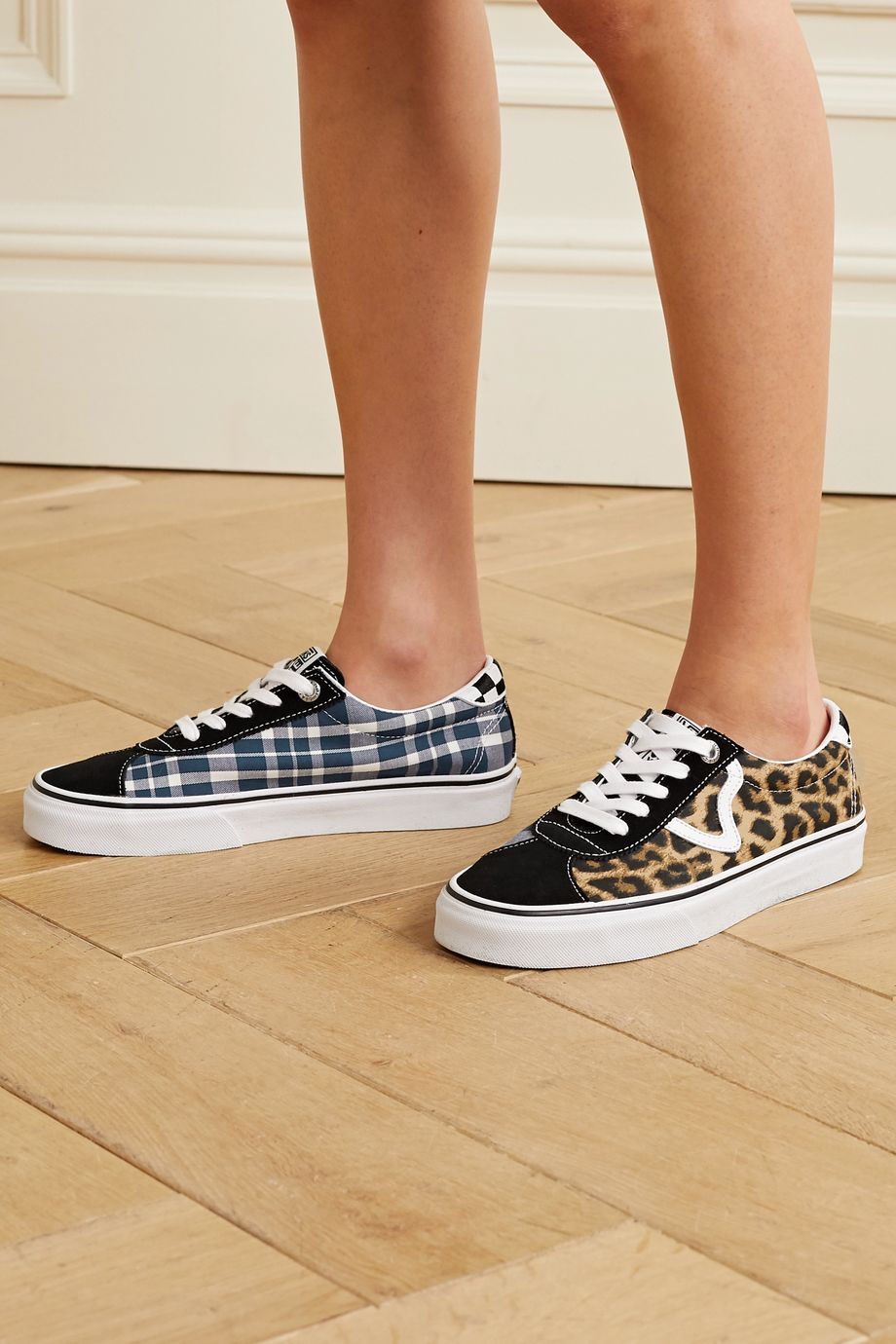 Vans + Sandy Liang Sport printed canvas, suede and leather sneakers