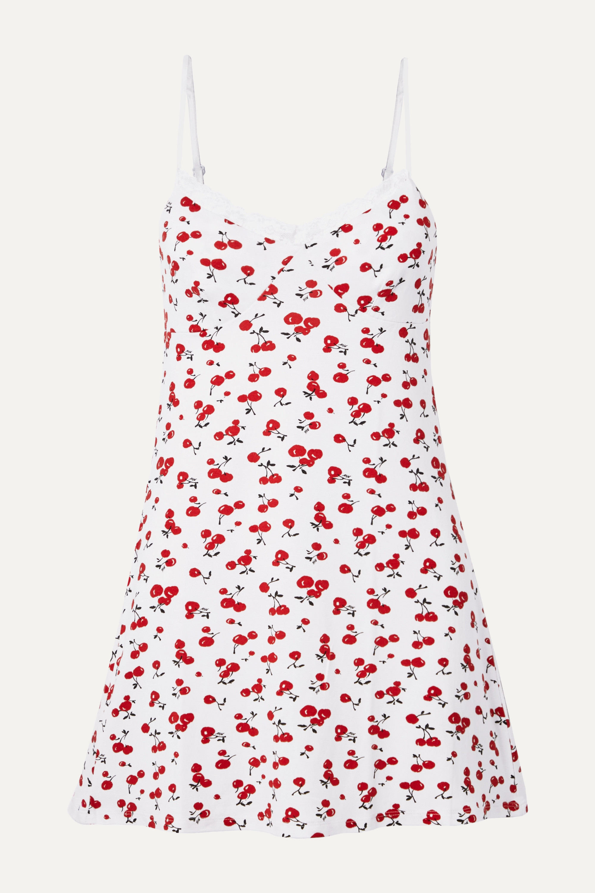 HVN Lace-trimmed printed stretch-modal jersey chemise