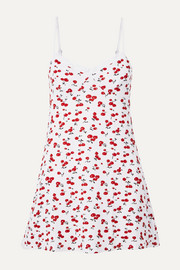 Lace-trimmed printed stretch-modal jersey chemise