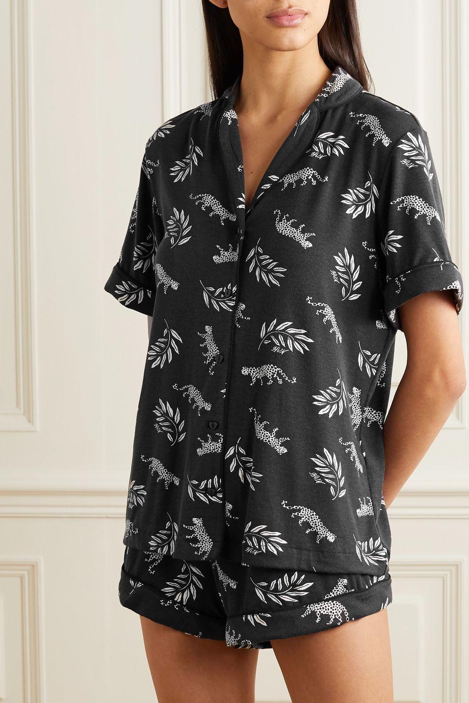 HVN Alice printed stretch-modal pajama set