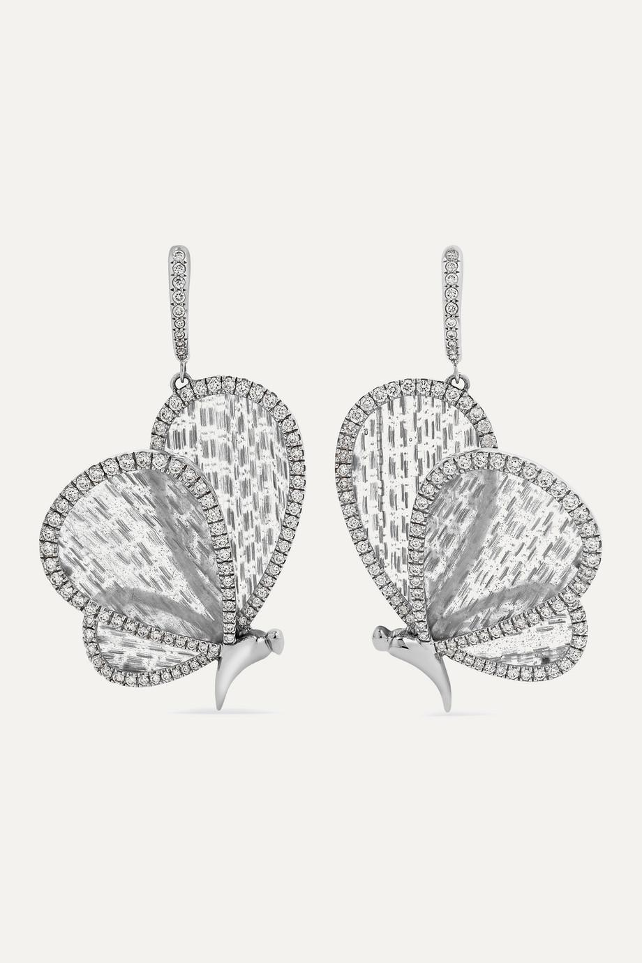 Boghossian Ohrringe aus 18 Karat Weißgold mit Titanfasern und Diamanten