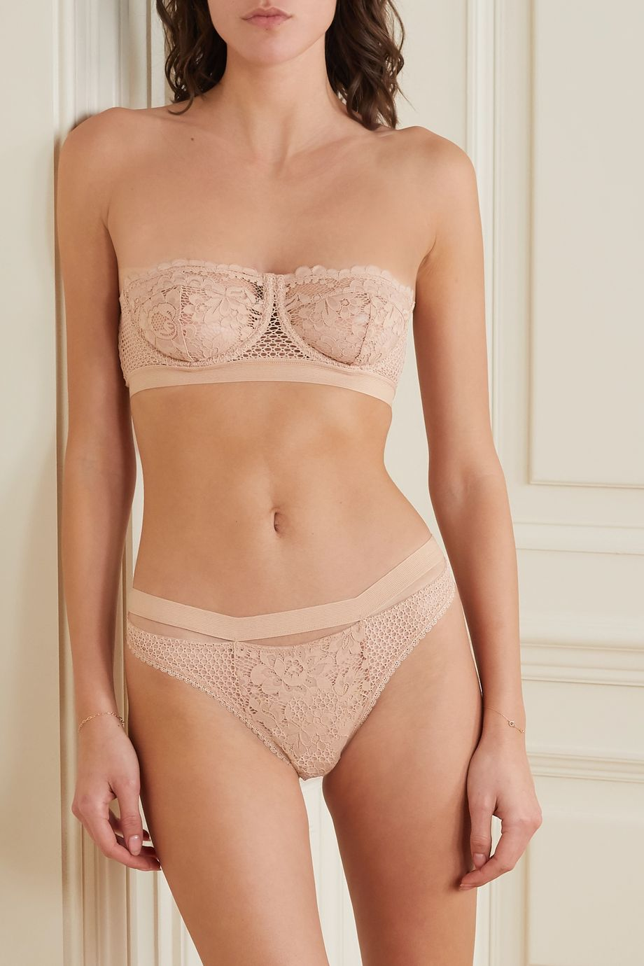 ELSE Petunia stretch-mesh and corded lace underwired strapless balconette bra
